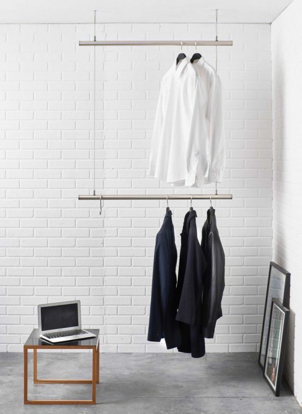 Deckengarderobe airjust mit doppelter Kleiderstange