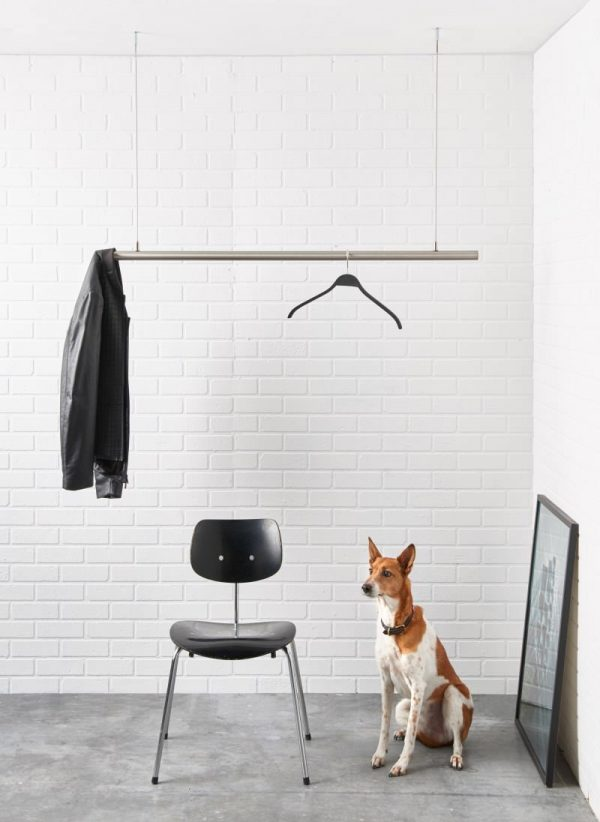Stainless steel height adjustable clothes rail for the ceiling.